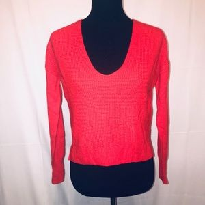 Halogen Small Cashmere Sweater V neck red